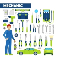 Profession Auto Mechanic Icons Set with Tools vector image