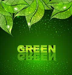 background with green leaves and drops of dew vector image vector image