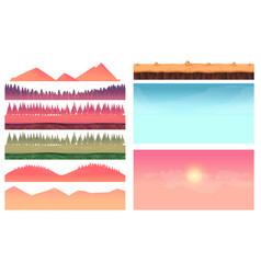 cartoon nature landscape elements set platform vector image
