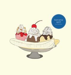 Delicious sweet banana split ice cream dessert vector
