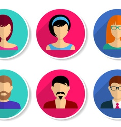 Men and women avatar icons vector image