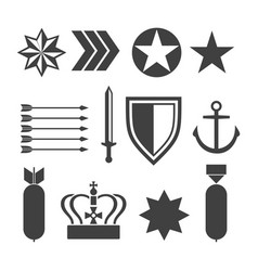 military army elements collection isolated on vector image