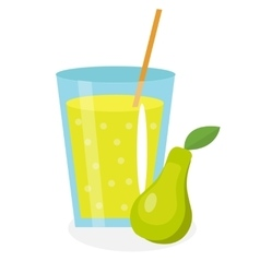 Pear juice in a glass Fresh isolated on white vector image