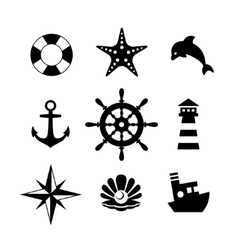 Sea icon collection isolated on white background vector image