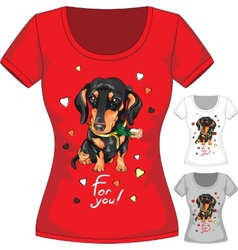 T-shirt with dachshund and flower vector image