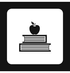 Two books and apple icon simple style vector image vector image
