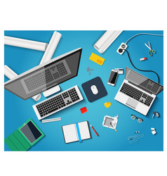 Workplace with different subjects in flat style vector