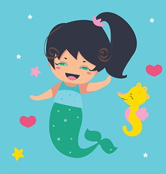 Amusing Little Mermaid and seahorse vector image