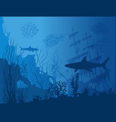 blue underwater landscape vector image vector image