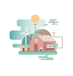 Eco house design flat vector image vector image