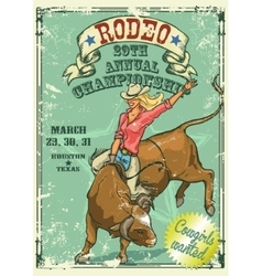 Rodeo cowgirl riding a bull retro style poster vector