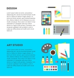 Set horizontal banners workplace of designer with vector