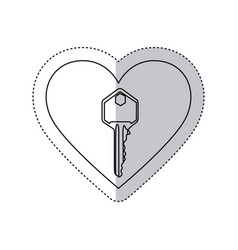 sticker monochrome contour with heart frame with vector image