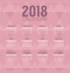 2018 pink geometric pattern printable calendar vector image