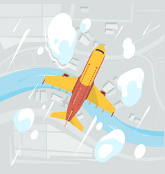 airplane sky top view flying transport jet civil vector image