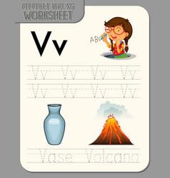 alphabet tracing worksheet with letter v and v vector image