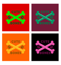 Assembly flat icons halloween bones vector