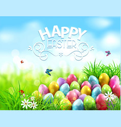 Background easter eggs in green grass vector