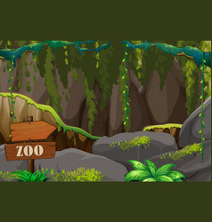 Background scene zoo with rocks and vines vector