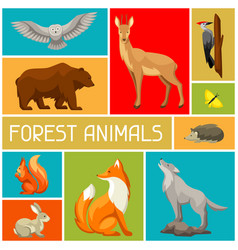 Background with woodland forest animals and birds vector