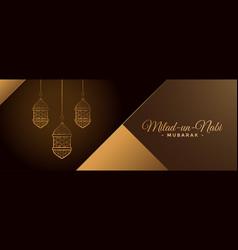 Beautiful golden milad un nabi lamps banner design vector