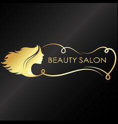 beauty salon silhouette girl stylish vector image