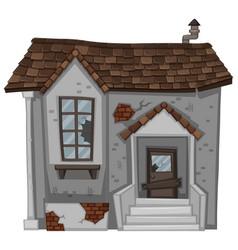 brick house with broken door and window vector image