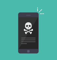 Broken smartphone malware notification on vector