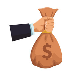 businessman hand with money bag vector image