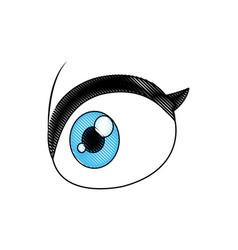 Cartoon eye vision look optic icon vector