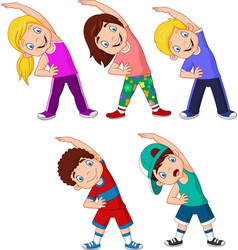 cartoon little kids exercising on white background vector image