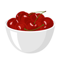 cherry big pile of fresh red cherries in the vector image