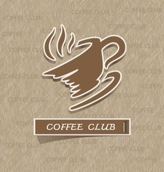 Coffee cup sticker on brown paper vector