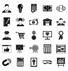 coffers icons set simple style vector image