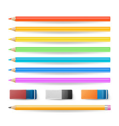 colored pencils isolated set realistic vector image