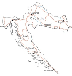 Croatia Black White Map vector image