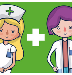 cute female medical team cartoon vector image