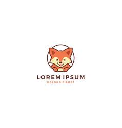 cute fox animal logo template icon male vector image