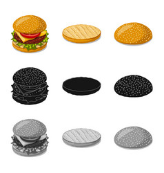 Design of burger and sandwich icon set of vector
