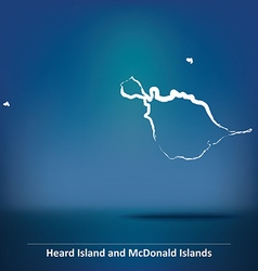 Doodle Map of Heard Island and McDonald Islands vector