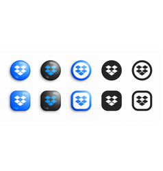 dropbox modern 3d and flat icons set vector image