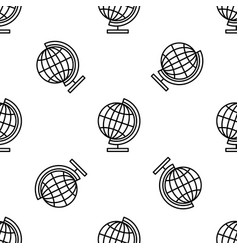 earth globe line icon seamless pattern vector image
