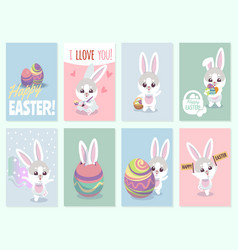 Easter rabbit cards baby rabbits cute and color vector