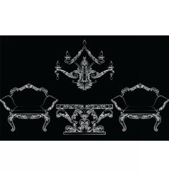 Fabulous rich baroque rococo chair and table set vector