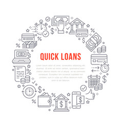 finance money loan circle template flat line vector image