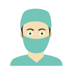 Flat icon of doctor man in medical dressing vector