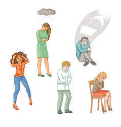 flat people suffering from mental disorder illness vector image