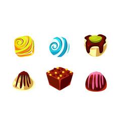 flat set of chocolate and caramel candies vector image