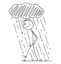 Frustrated angry person walking in personal rain vector