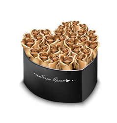 golden roses bouquet box realistic vector image
